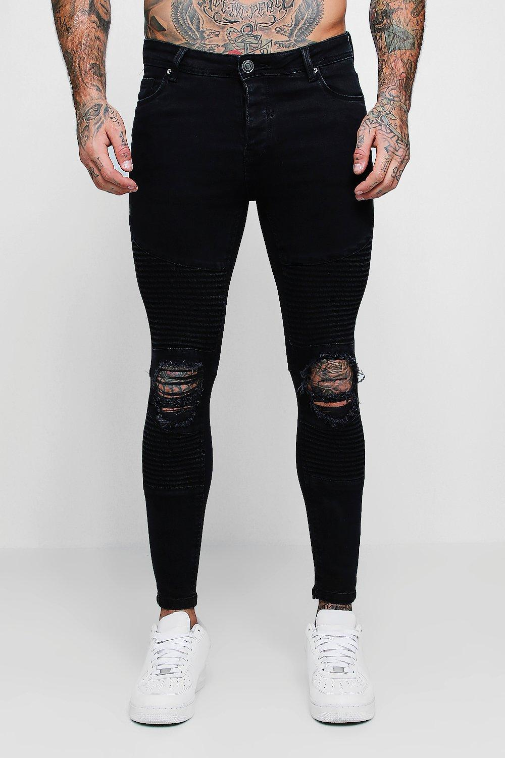 Spray On Skinny Biker Jeans With Distressed Knees