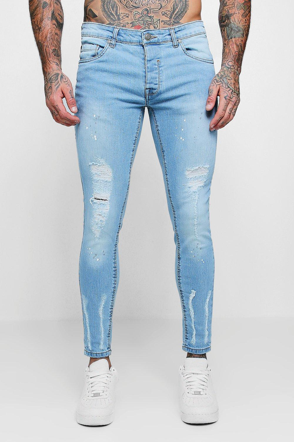 Skinny Fit Jeans With Distressed Knees
