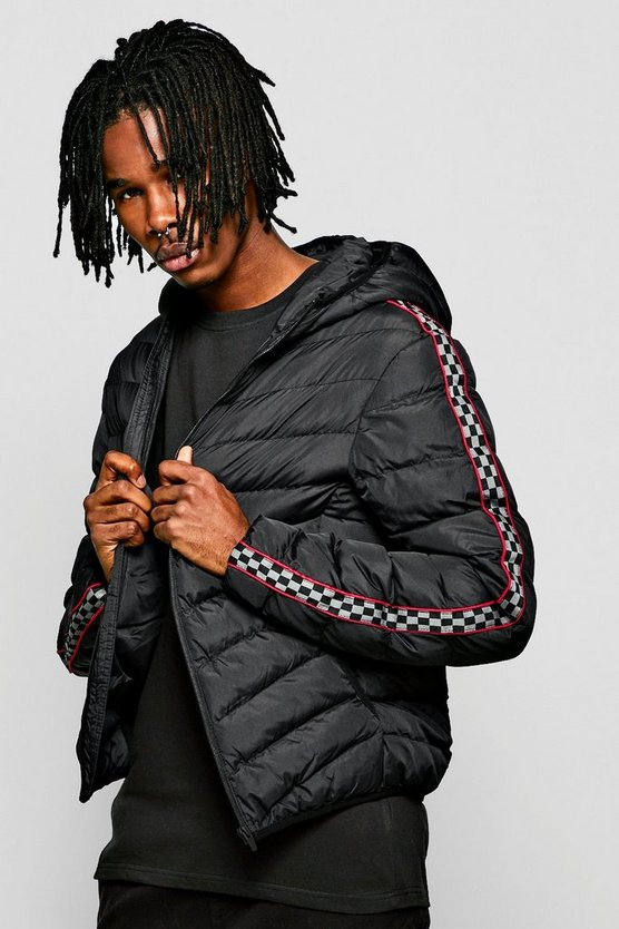 Mens Black Checkerboard Tape Hooded Puffer Jacket