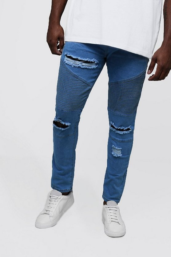 Mens Pale blue Big & Tall Skinny Fit Ripped Biker Jeans