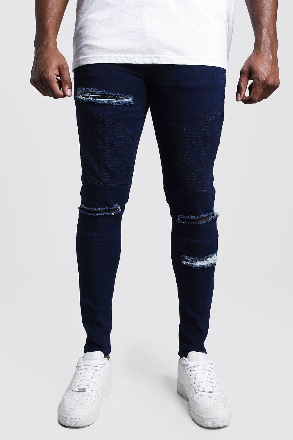 142bf9b8 Big & Tall Skinny Fit Ripped Biker Jeans | Boohoo