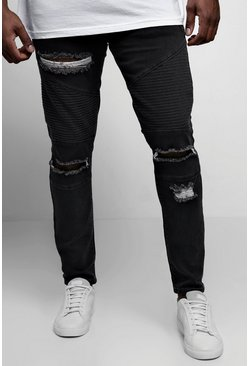 Mens Charcoal Big & Tall Skinny Fit Ripped Biker Jeans