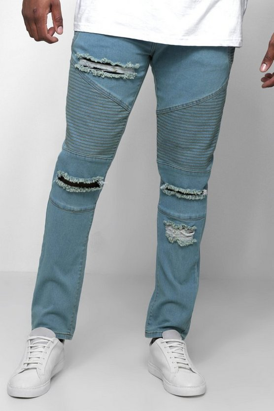 Big & Tall Skinny Fit Ripped Biker Jeans