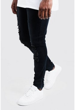 Mens Charcoal Big & Tall Distressed Skinny Fit Jeans