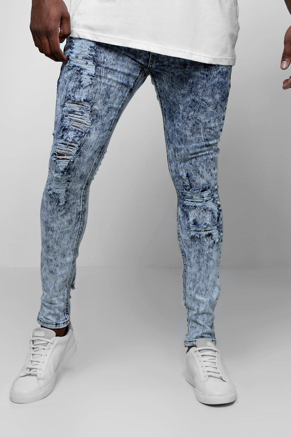 Big & Tall Acid Wash Skinny Fit Jeans