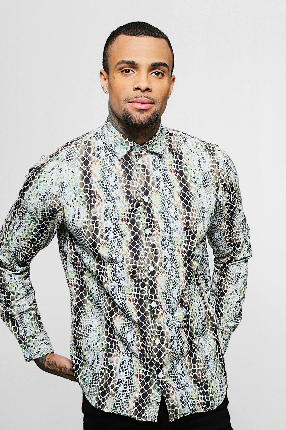Snakeskin Print Long Sleeve Satin Shirt