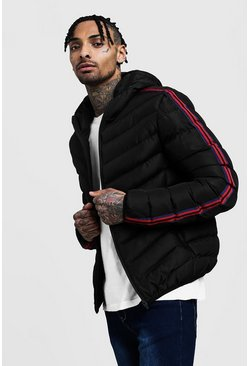 Mens Black Striped Tape Hooded Puffer Jacket
