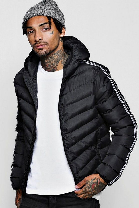 Striped Tape Hooded Puffer Jackets