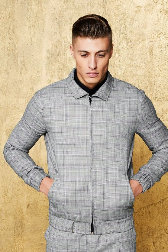 Mens Grey Multi Check Smart Coach Jacket