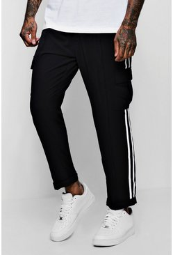 Mens Black Smart Woven Cargo Trouser With Tape