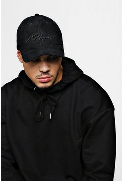 Mens Black 3D MAN Script Embroidered Suede Cap