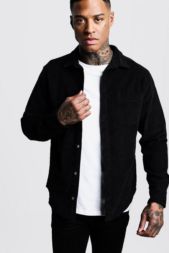 Black Long Sleeve Cord Over Shirt