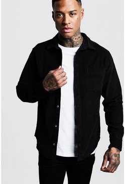 Herr Black Long Sleeve Cord Over Shirt