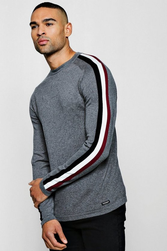 Muscle Fit Jumper With Jacquard Side Stripe