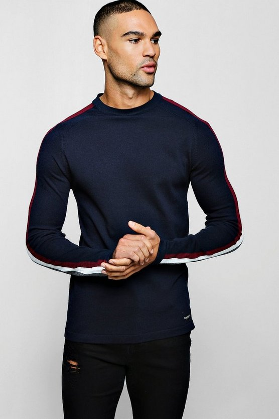 Mens Navy Muscle Fit Jumper With Jacquard Side Stripe