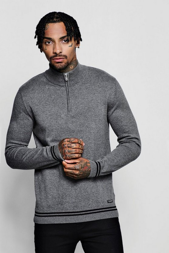 Funnel Neck Cotton Jumper With Zip Neck