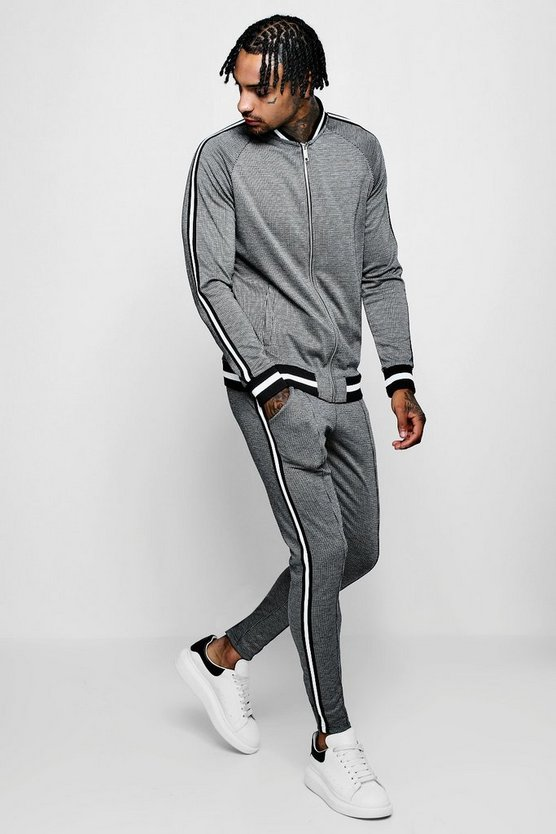 Bomber Dogstooth Jacquard Tracksuit With Tape