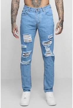 Mens Blue Slim Fit Rigid Jeans With Extreme Rips