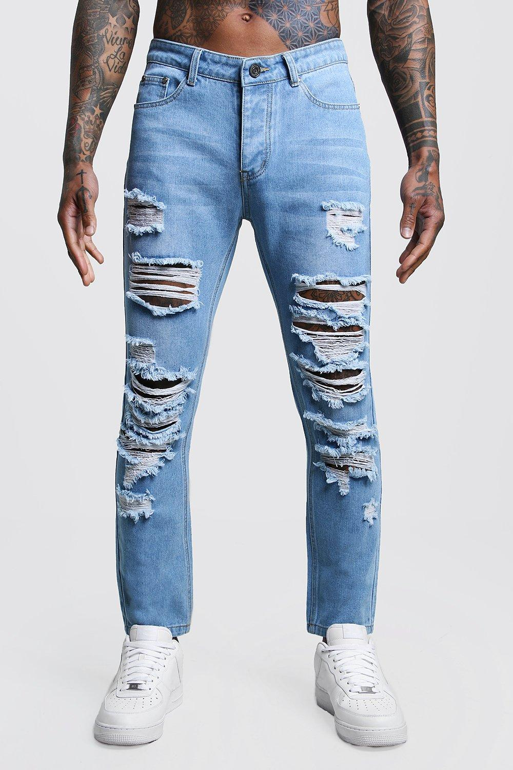 Slim Fit Rigid Jeans With Extreme Rips