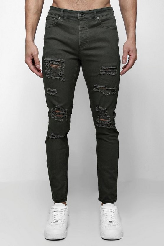 Mens Khaki Skinny Fit Jeans With All Over Rips