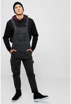 salopette slim rigide en denim, Anthracite