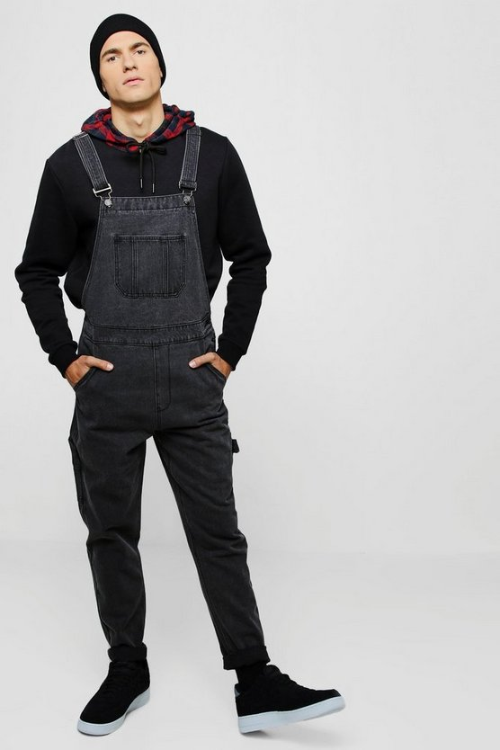 Mens Charcoal Slim Fit Rigid Denim Dungarees