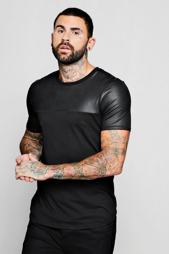 Leather Look Panel T-Shirt With Curve Hem