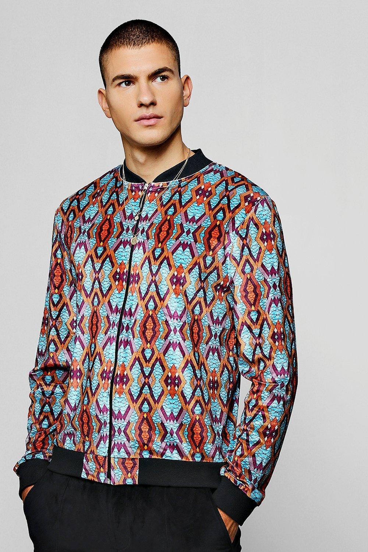 Aztec Velour Printed Bomber Jacket
