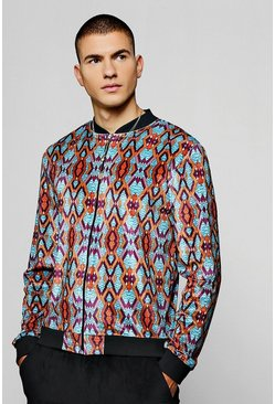 Mens Multi Aztec Velour Printed Bomber Jacket