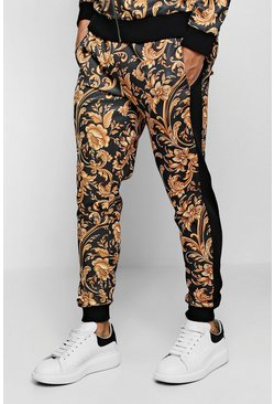 Mens Black Baroque Print Panelled Skinny Jogger