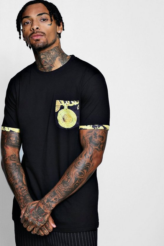 Longline Baroque Pocket & Sleeve Print T-Shirt