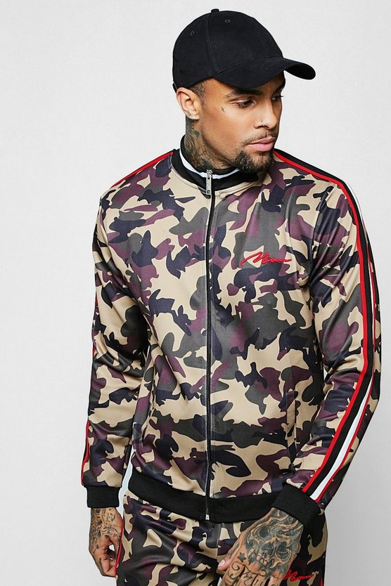 Camo Track Top With Side Tape