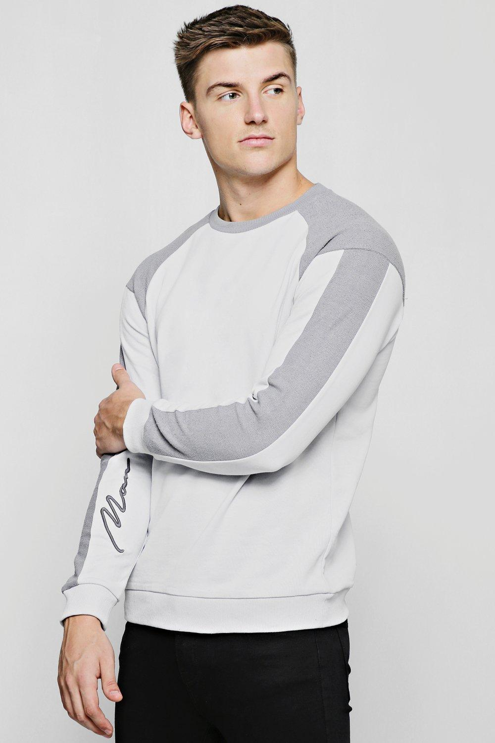 Contrast Sweater With MAN Signature Sleeve