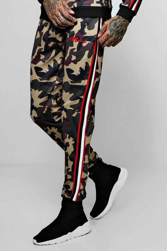 Skinny Fit MAN Camo Joggers With Side Tape
