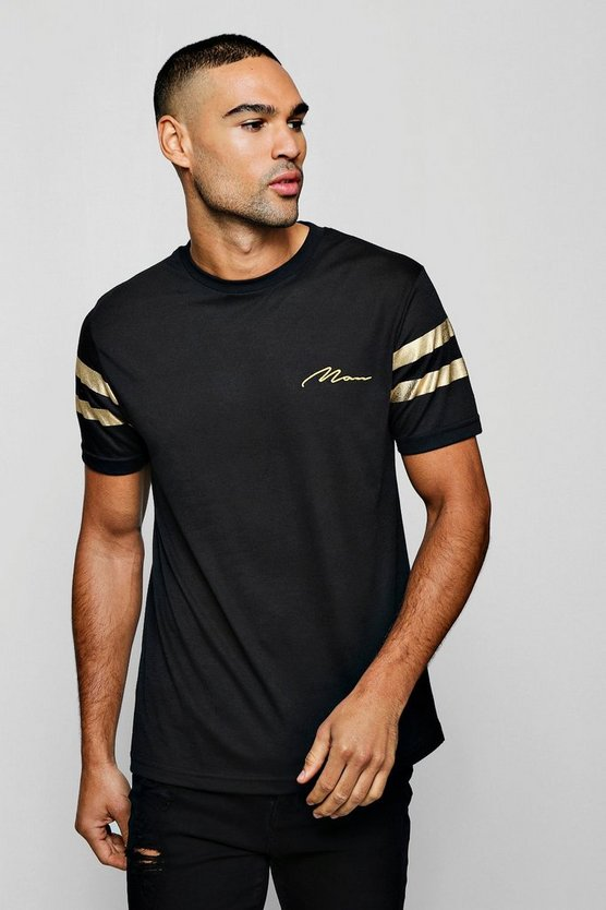 MAN Gold T-Shirt With Stripes