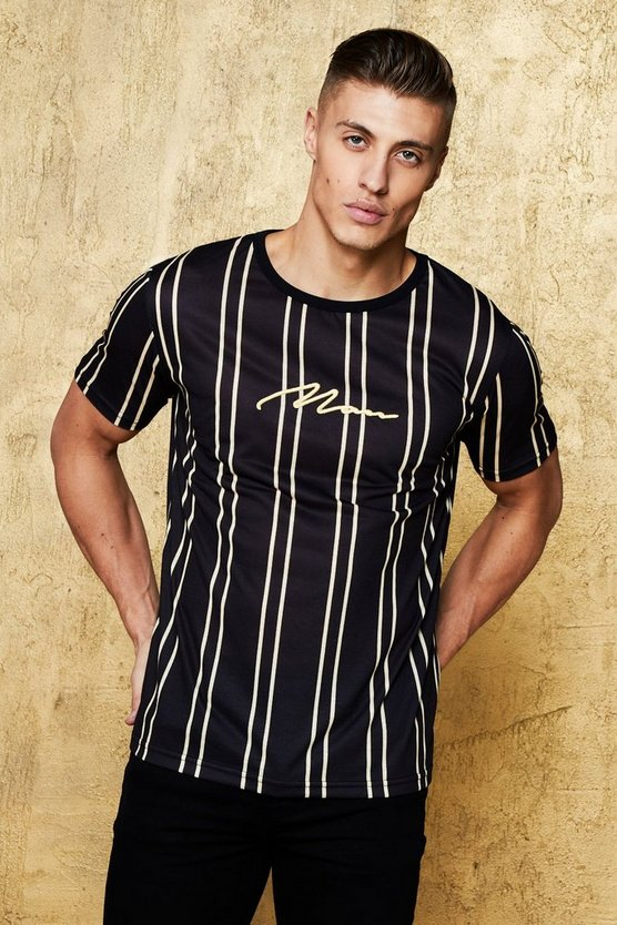 MAN Gold Stripe Print T-Shirt