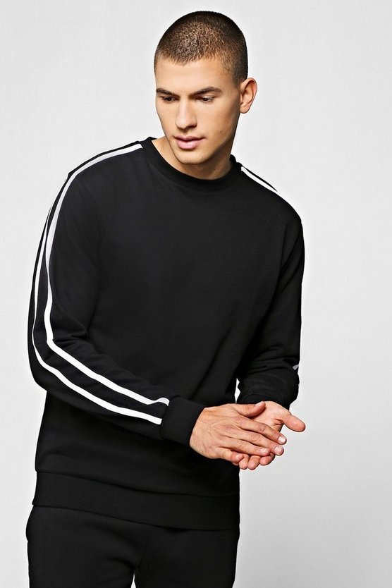 Mens Black Fleece Sweatshirt With Contrast Sleeve Detail