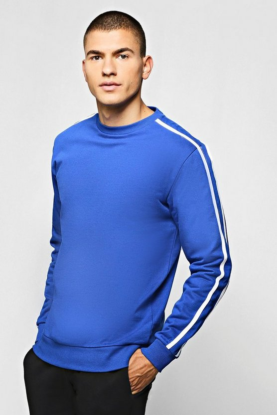 Fleece Sweatshirt With Contrast Sleeve Detail