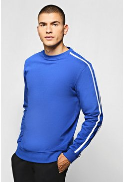 Mens Navy Fleece Sweatshirt With Contrast Sleeve Detail