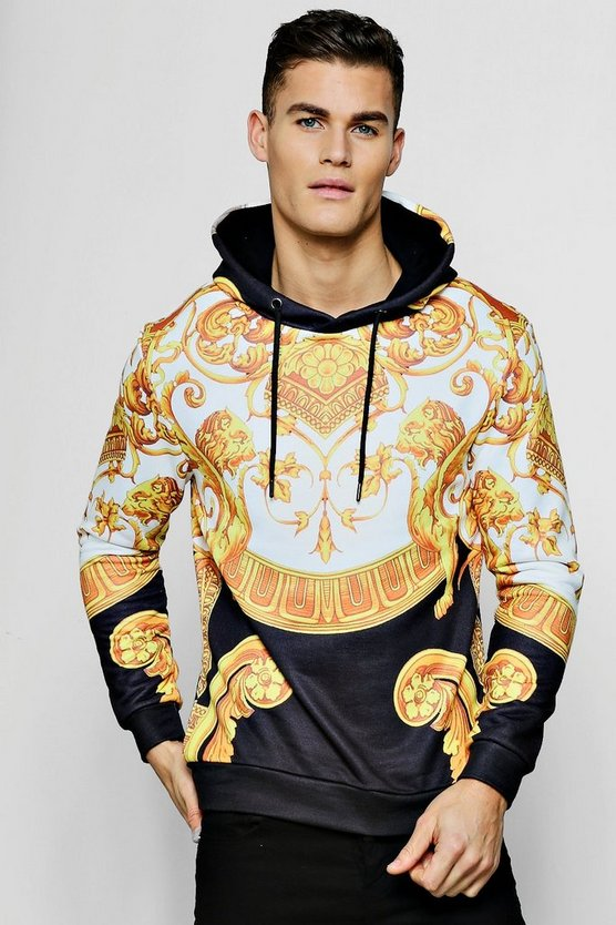 All Over Baroque Print Hoodie by Boohoo Man