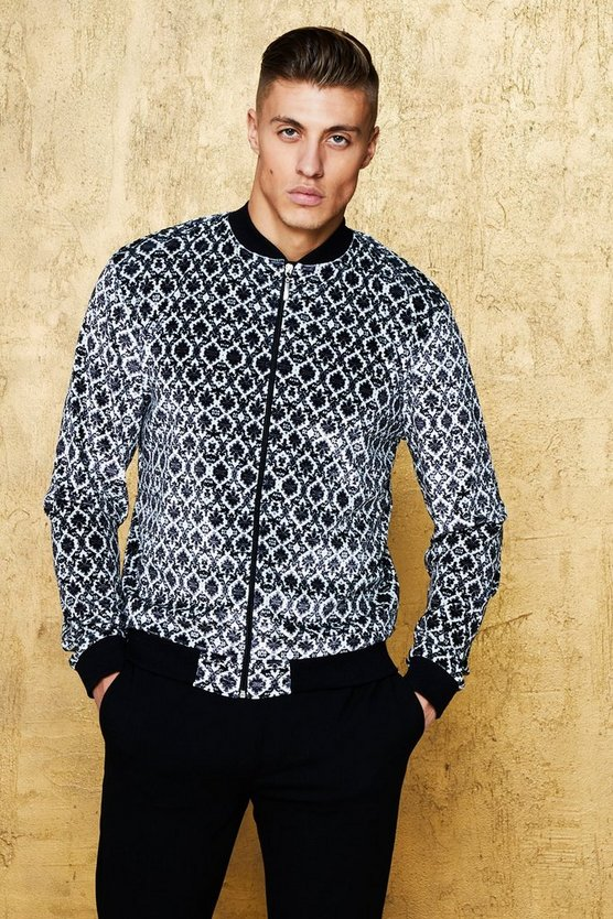 Art Deco Velour Print Bomber Jacket