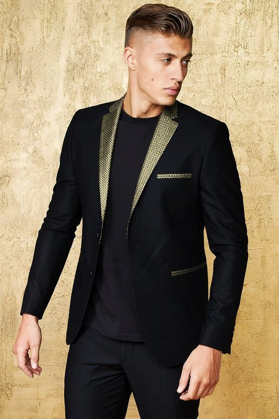 Skinny Fit Suit Blazer With Jacquard Lapel