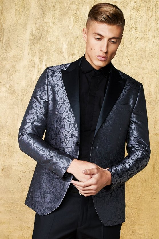 Jacquard Skinny Fit Suit Jacket