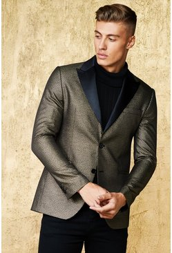 Mens Gold Metallic Jacquard Suit Jacket With Satin Lapel
