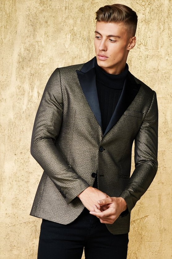 Metallic Jacquard Suit Jacket With Satin Lapel