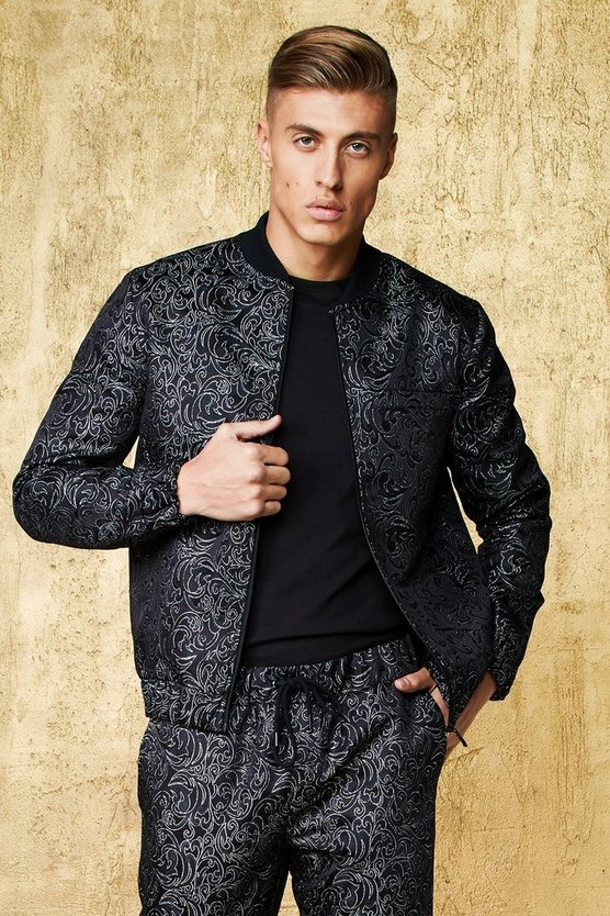 Mens Black Jacquard Metallic Smart Bomber Jacket