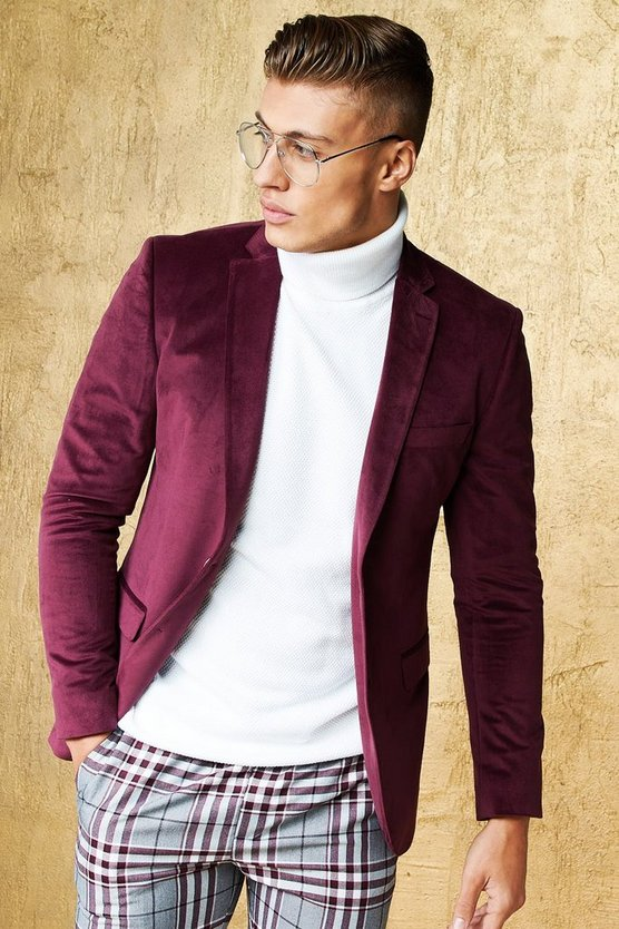 Velour Skinny Fit Suit Jacket