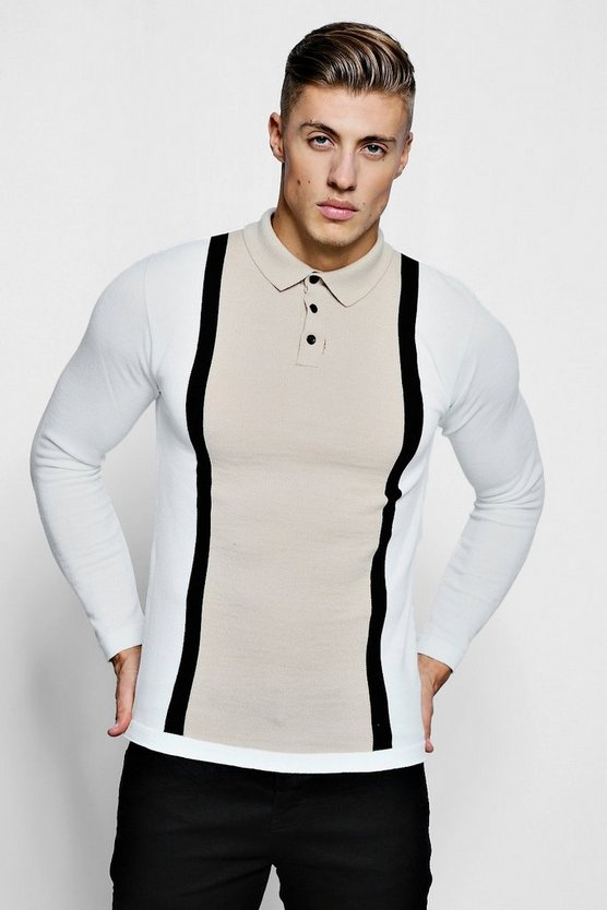 Mens Stone Muscle Fit Colour Block Long Sleeve Knitted Polo