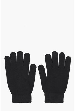 Black Mens Thermal Magic Gloves With Grip