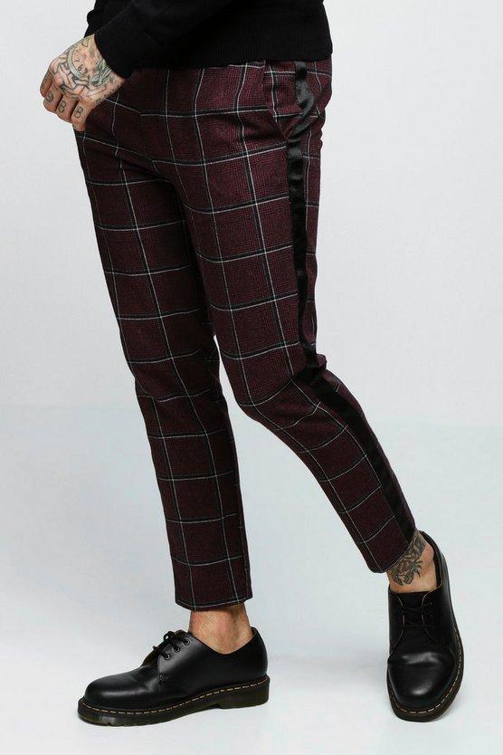 pantalon de jogging habill bande carreaux boohoo. Black Bedroom Furniture Sets. Home Design Ideas